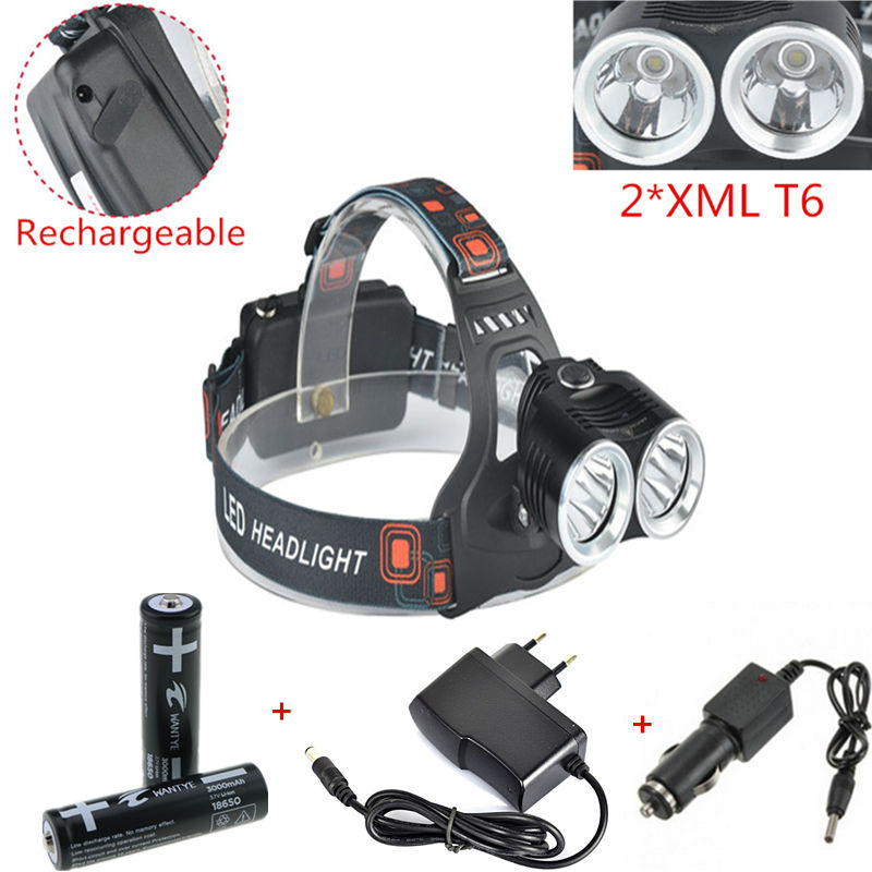 New 2T6 led Headlight CREE XML T6 4000LM Outdoor sports HeadLamp 18650 bike lights 2x 18650