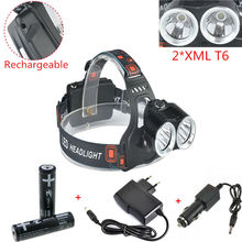 New 2T6 led Headlight CREE XML T6 4000LM Outdoor sports HeadLamp 18650 bike lights +2x 18650 battery+dc charger+car charger