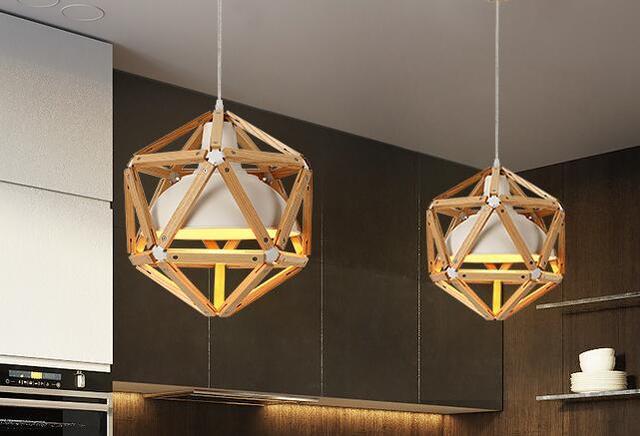 wooden chandelier lighting. Nordic Pendant Lights Creative Wood Lamps Bedroom Restaurant Personality Minimalist Wooden Chandelier Lamp WPL246 Lighting S