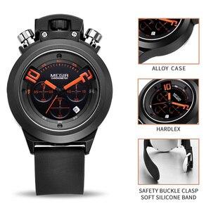 Image 3 - Часы MEGIR мужские наручные в стиле милитари, Оригинальные спортивные аналоговые, с хронографом и датой, с силиконовым ремешком, 2004