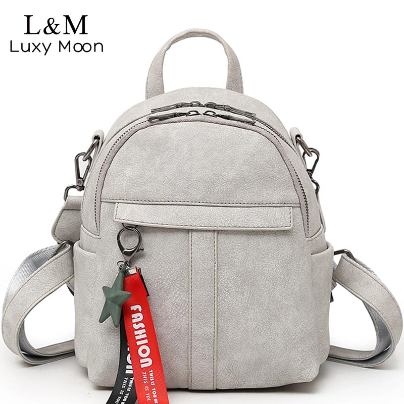 Luxy moon Backpack Women PU Leather Backpacks For Teenage Girls School Bags 2018 Fashion Vintage Solid Shoulder Bag Black XA379H