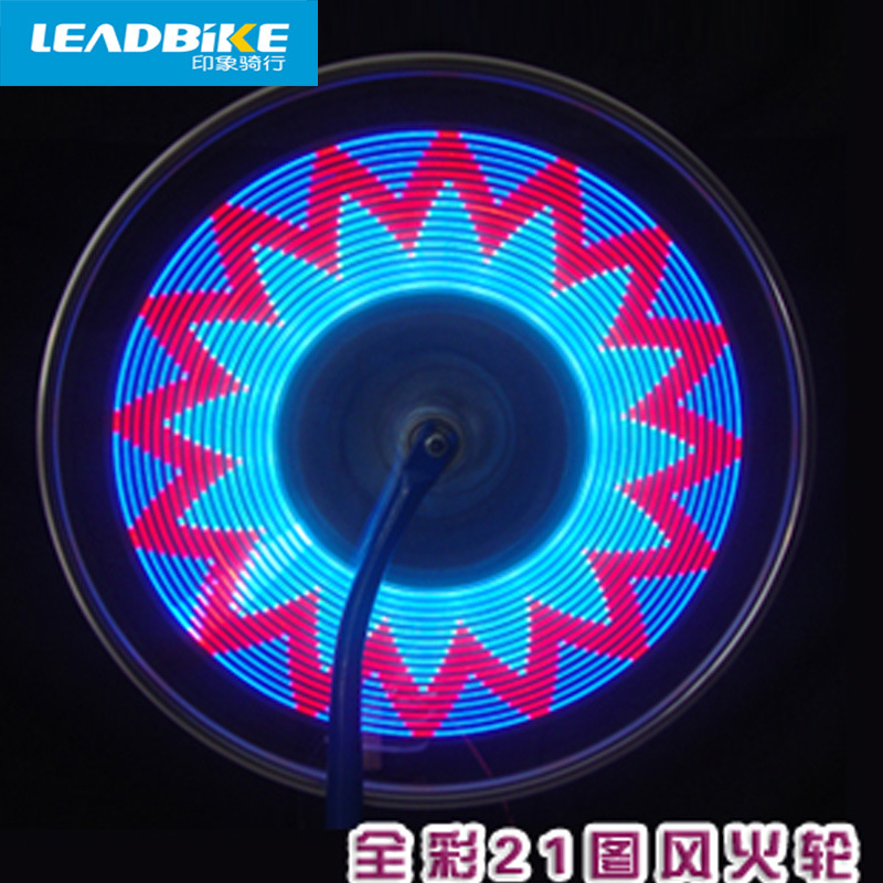 Leadbike Lamp Bycicle LED Light Accessories Wheel Light Double Display 21 Flash Patterns With 32 RGB LED Lights Lamp for Bikes motion activated blue light 7 led message display wheel lights for bikes and cars