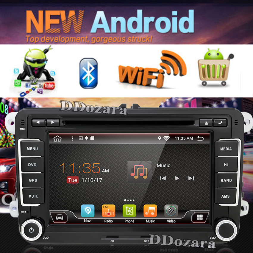 2 Din Car dvd radio Player 7inch Android 6 0 Quad core for Volkswagen VW Golf