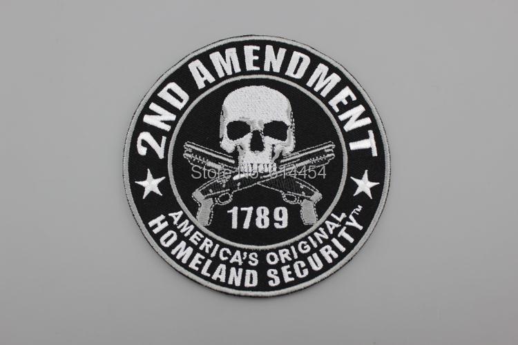2E AMENDEMENT AMERIKA'S ORIGINELE HOMELAND SECURITY Skull Double Guns - Kunsten, ambachten en naaien