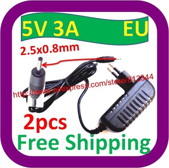 100% Kwaliteit 2 Stks Gratis Verzending Eu Plug Charger Power Adapter Dc 2.5 Mm 5 V 3a Voor Tablet Pc Charger Vervanging Glanzend Oppervlak