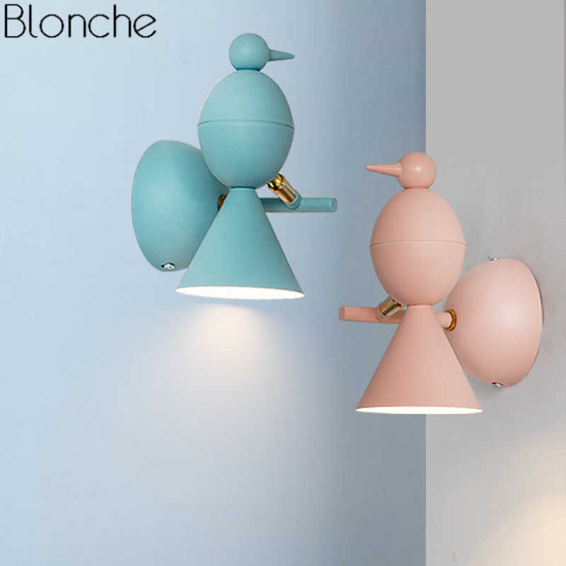 Nordic Bird Wall Lamp Led Light Adjule Sconce Children S Room Kids Bedroom Study Reading Fixtures Home Decor Luminaire