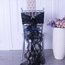 SH105B Новые Вечерние Красивые черные блестки с органзы курчавая ива frilly стул створки