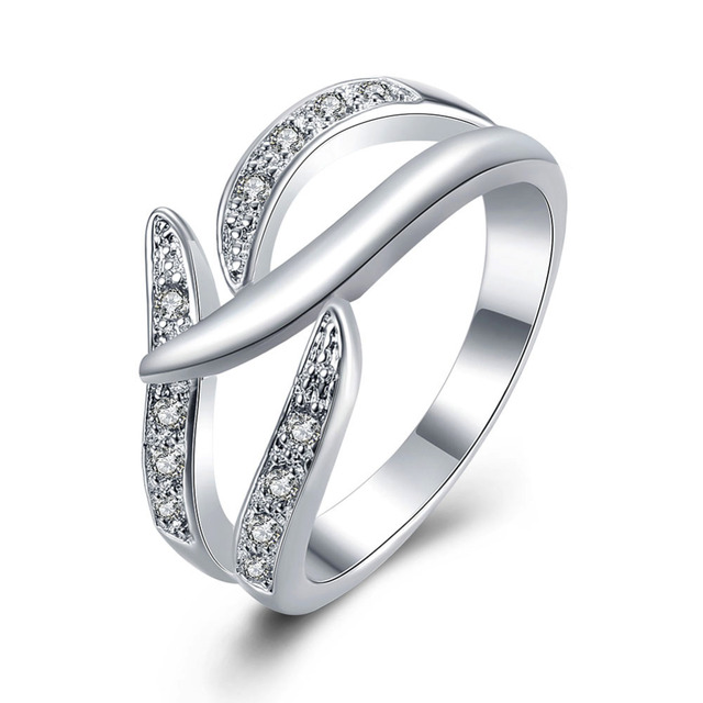 Elegant Women Silver Wedding Ring Jewelry Fashion Lady Best Quality Charm Clic Christmas Gift