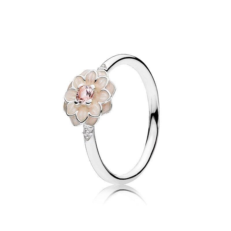 Anillos Mujer Blühende Dahia Ringe Für Frauen 925-Sterling-Silver Hochzeit Emaille Kristall CZ Blume Ring Marke Logo Edlen Schmuck