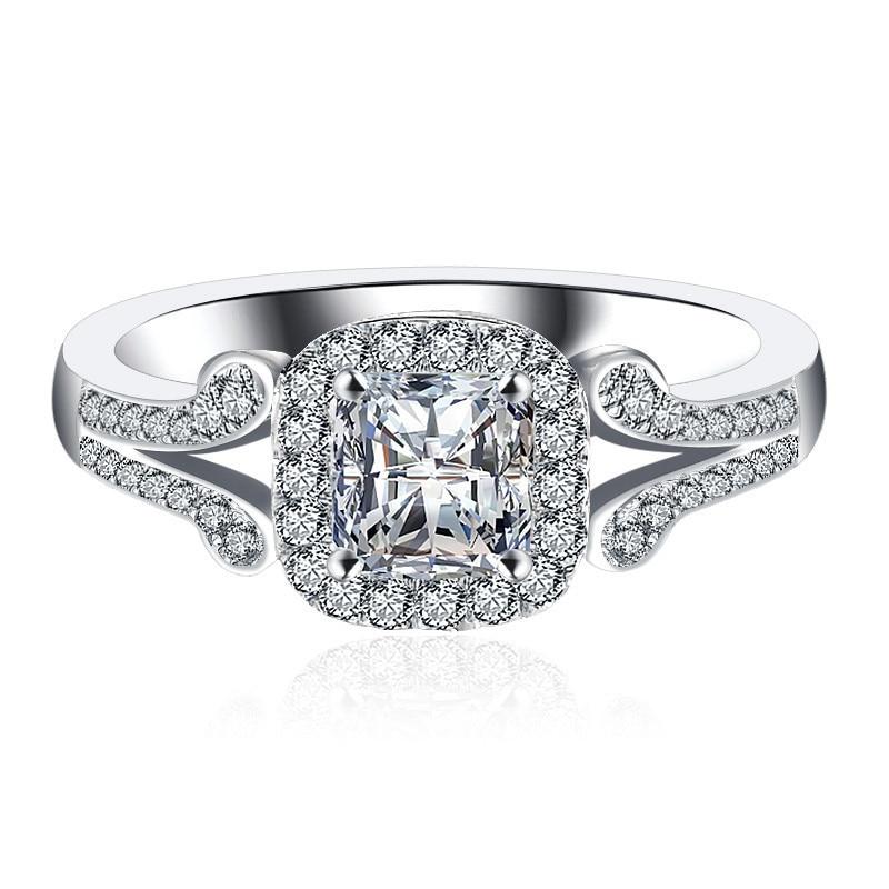 Элегантный принцесса резки синтетический камень Обручальное кольцо Для женщин 100% чистого серебра 925 группа Классический Дизайн Бесплатная...