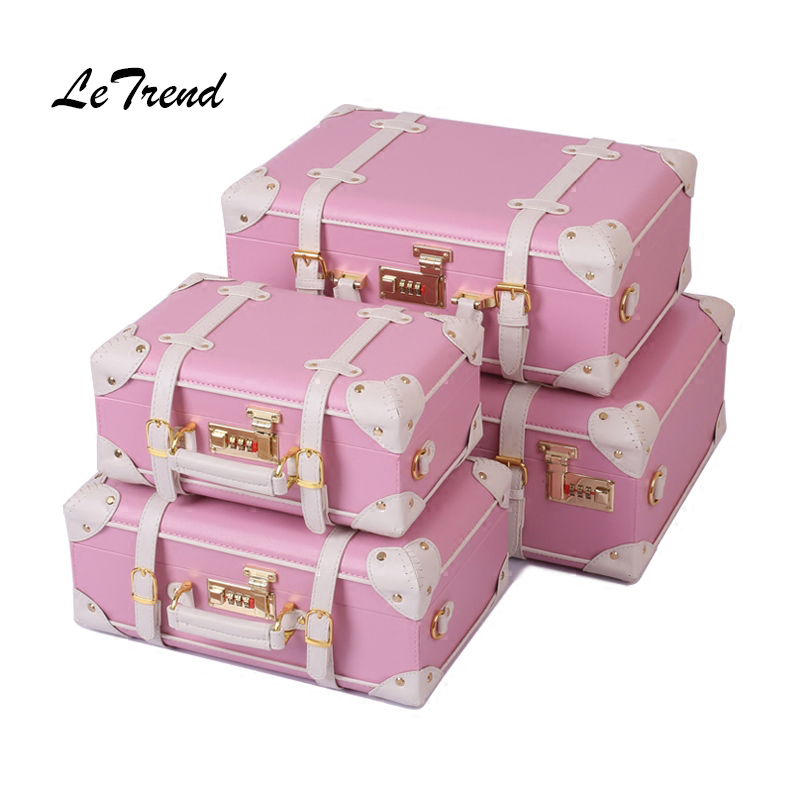LeTrend Korean Trolley Cute Pink Suitcase Wheels Cosmetic Case Women Vintage Leather Travel Bag Retro Password Box Cabin Luggage