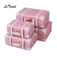 LeTrend Korean Trolley Cute Pink Suitcase Wheels Cosmetic Case Women Vintage Leather Travel Bag Retro Password