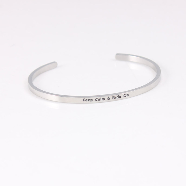 Keep Calm Ride On Horse Lover Bracelet Bangle Personalized Stainless Steel Open Cuff Statement Id