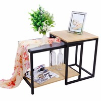 Lifewit 2 Piece Modern Nesting Coffee Table Set Side End Table Set Combination Extension Slide Modern