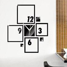 Creative DIY Clock Wall Stickers Modern Design 3D Crystal Mirror Fashion Black Silver Mix Color Square