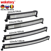 weketory 22 / 32 / 42 inch Curved LED Bar Quad Row LED Work Light Bar for Tractor Boat OffRoad 4WD 4x4 Car Truck SUV ATV
