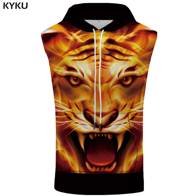 KYKU Brand Tiger Sleeveless Hoodie Flame Singlets Anime Vest Punk Sweatshirt Shirts Bodybuilding Mens Clothing Muscle 3d Print
