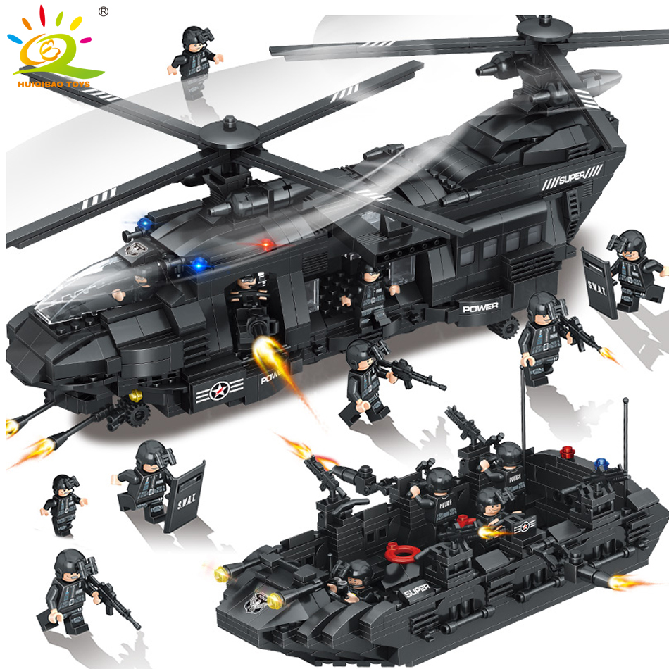 1351pcs Military Swat Police Team Building Blocks Transport Helicopter Compatible Legoed city army Enlighten Bricks Children toy цена