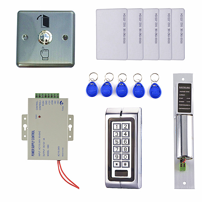 Electric Drop Bolt Lock 125KHz RFID Waterproof Metal Password Keypad ID Card Reader Door Access Control System Kit raykube glass door access control kit electric bolt lock touch metal rfid reader access control keypad frameless glass door