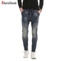 Bierelinnt Autumn Winter 2017 Fashion Casual Elastic Cotton Slim Fit Jeans Men Good Quality Denim Long