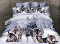 3D Wolf animal print bedding set king queen size duvet quilt cover bedspread bed in a bag fitted sheets snowflake 100% cotton