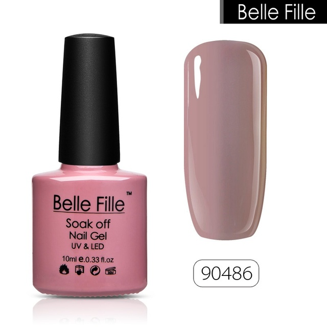 BELLE FILLE brand UV Nail Gel Polish Soak Off salmon pink nude color Professional semi permanent Nail Art fingernail  on AliExpress