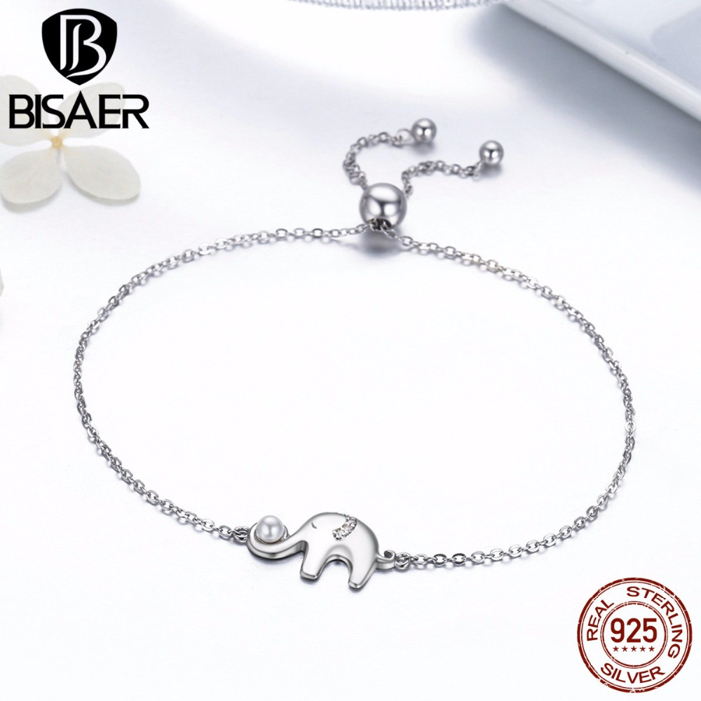 Real 925 Sterling Silver Elephant & Ball Lace up Chain Link Strand Bracelets for Women Authentic Silver Fine Jewelry Gift GXB027