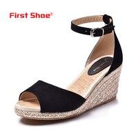 2017 Spring Summer Sheepskin Women Wedge Sandals Vintage Style Gladiator Sandalias Mujer Genuine Leather Peep Toe