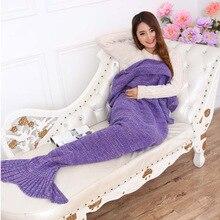 Wool Knitted Mermaid Tail Blanket Handmade Children Mermaid Blanket Throw Bed Wrap Super Soft Adult Swaddle Sleeping Blanket