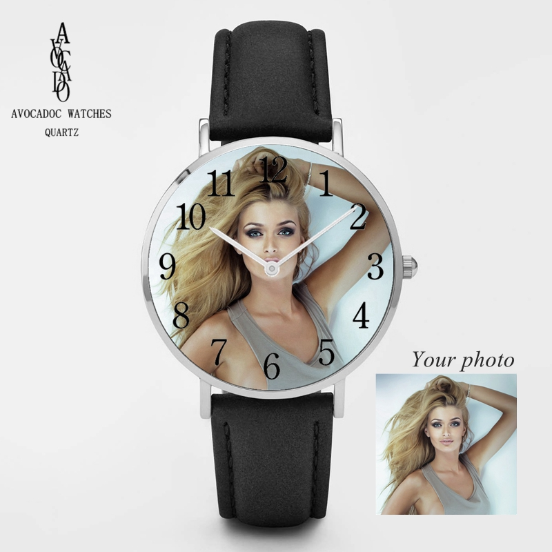 Design Picture Custom Logo Watch Photo Face Printing Wristwatch Customized Unique DIY Gift Silver Rose Gold Leather Strap