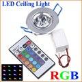 1 шт. светодиодные лампы 3 Вт RGB 16 видов цветов прожектор AC85-265V + ИК-пульт дистанционного управления RGB светодиодный потолочный светильник