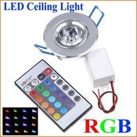 1 قطعة LED مصابيح كهربائية مصباح 3 واط RGB 16 ألوان بقعة ضوء AC85 265V الأشعة تحت الحمراء عن بعد ملون للتحكم LED السقف النازل-في مصابيح سقف LED من مصابيح وإضاءات على