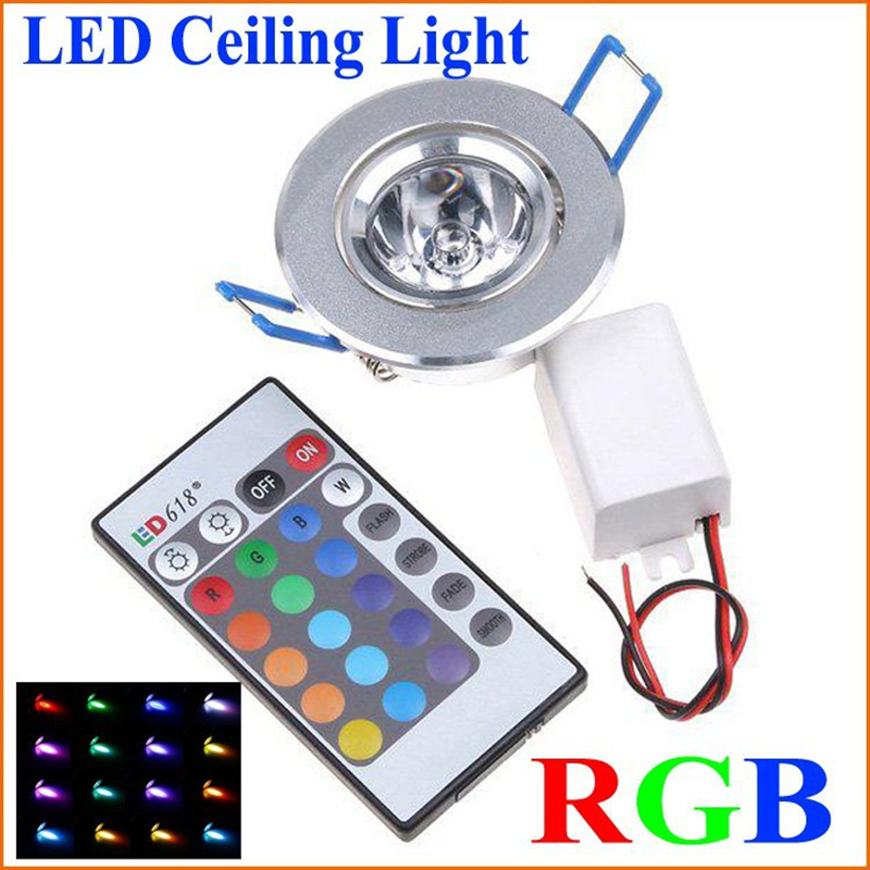 1pcs LED Light Bulbs Lamp 3W RGB 16 Colors Spot Light AC85-265V + IR Remote Control RGB LED Ceiling Downlight