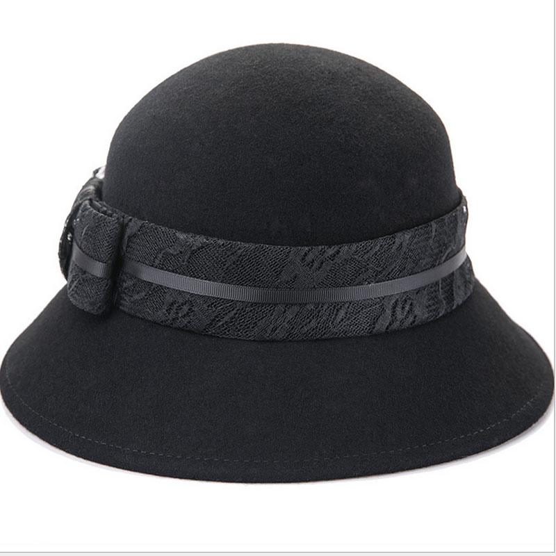 FS Women Felt Cloche Hat Fedora Black 100% Australia Wool Fedpras Lady  Church Hats Female Winter Classic Bowler Cap Dome Caps-in Fedoras from  Apparel ... ad65e8688f1