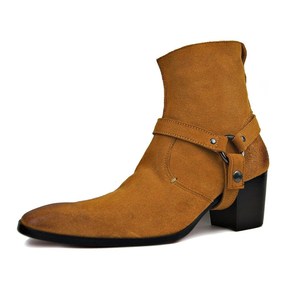 OTTO Handarbeit Aus Echtem Leder High Top High Heel Stiefel Marke Schuhe Boot Klassische Rote Untere Schuhe Kuh Leder Männer Designer schuhe-in Motorradstiefel aus Schuhe bei  Gruppe 2