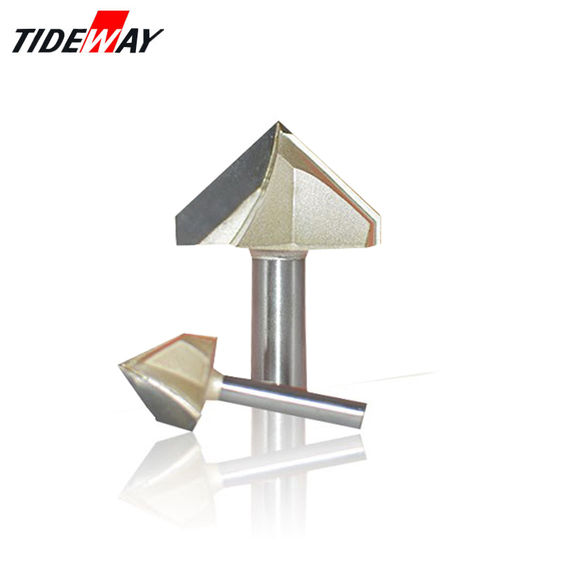 Tideway 90 Degree Engraving V Groove Bit Tungsten Steel CNC Router Engraving Wood Working Tool Double Edge Miter Milling Cutter