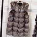 Настоящее природный фокс меховой жилет для женщин, высокое качество плед подлинная silver fox меховой тонкий жилеты, 70 см средней длины тонкий пальто