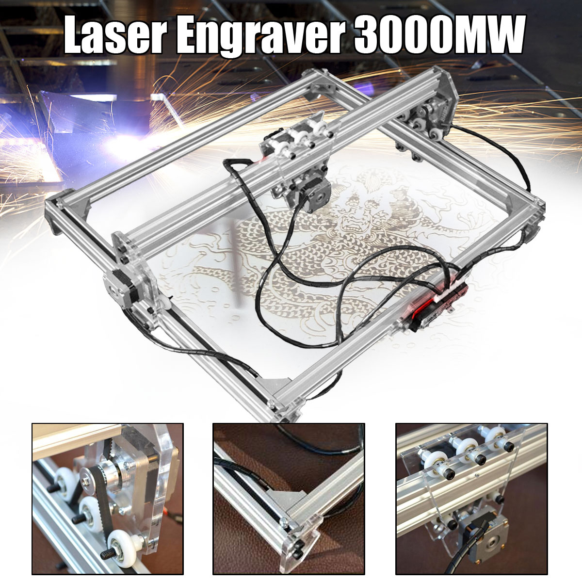 50 65cm 3000mw Mini Blue Laser Engraving Engraver Machine