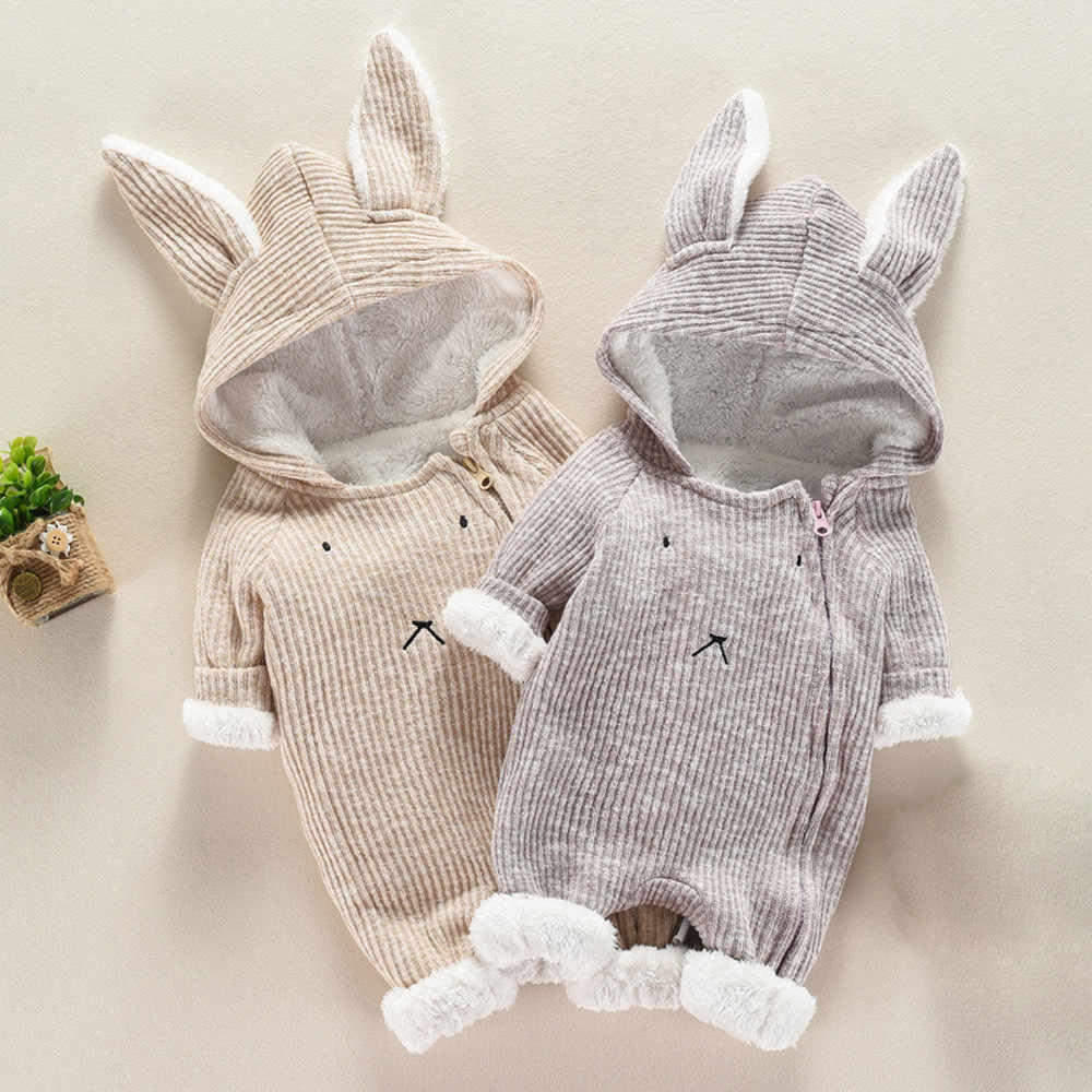 Infant Baby Boy Girl Romper Jumpsuit Ear Cartoon Hooded Clothes Thick Warm Newborn Baby Girl Boy Winter Rompers Jumpsuit Costume