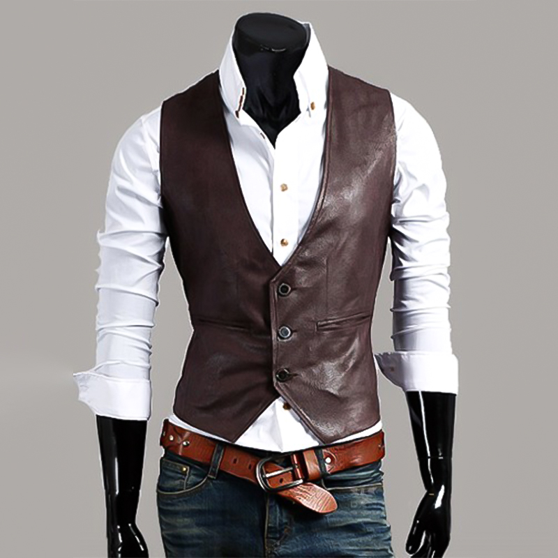 Mens Suit Vest New Men's Slim Plus Size Leather Vest Simple And Stylish Wild Vest Business Vest Waistcoat Waist Coat For Men
