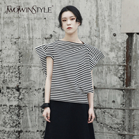 TWOTWINSTYLE Striped T Shirt Female Slash Neck Short Sleeve Patchwork Irregular T Shirts Top Summer 2018