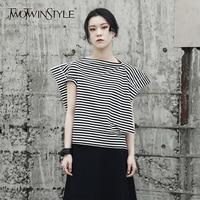 TWOTWINSTYLE Striped T Shirt Female Slash Neck Short Sleeve Patchwork Irregular T Shirts Top Summer 2018