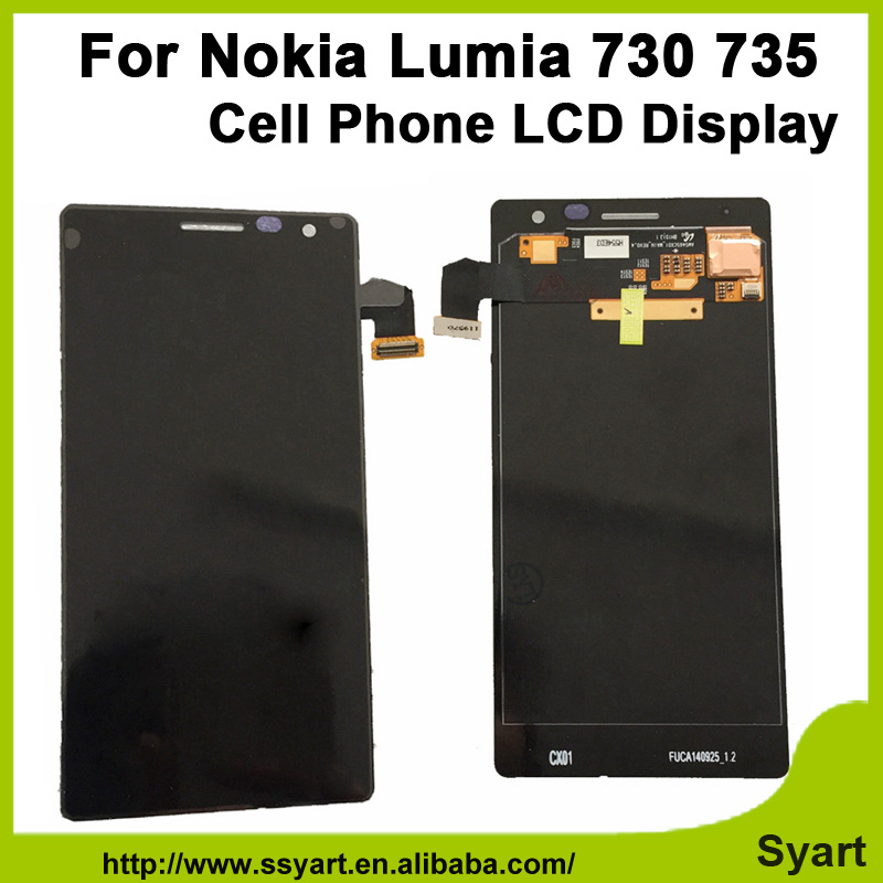 100% Test Without Frame For Nokia Lumia 730 735 LCD Display + Touch Screen Digitizer Assembly Replacement Parts+free tools 5 pcs free dhl ems shipping replacement lcd display with touch screen digitizer frame for nokia lumia 730 735 lcd assembly tools