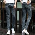 Бесплатная доставка 2017 Весна новые мужские черные узкие джинсы Модные уменьшают подходящие снежинка ковбойские ноги брюки мужские брюки карандаш 27-42