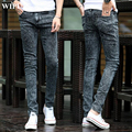 Free shipping 2017 Spring new men's black skinny jeans Fashion slim fit snowflake cowboy feet pants mens pencil pants 27-42