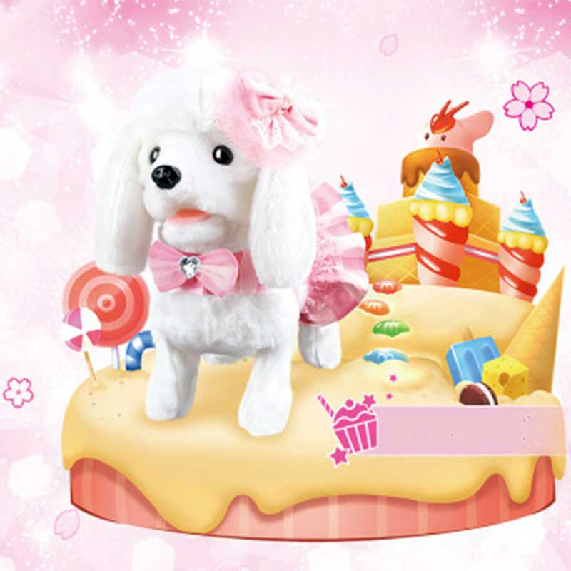 Perro Robot electrónico juguetes para perros de peluche cachorro mascota paseo corteza princesa correa de peluche controlado por línea de juguetes para niños niñas regalos - 4