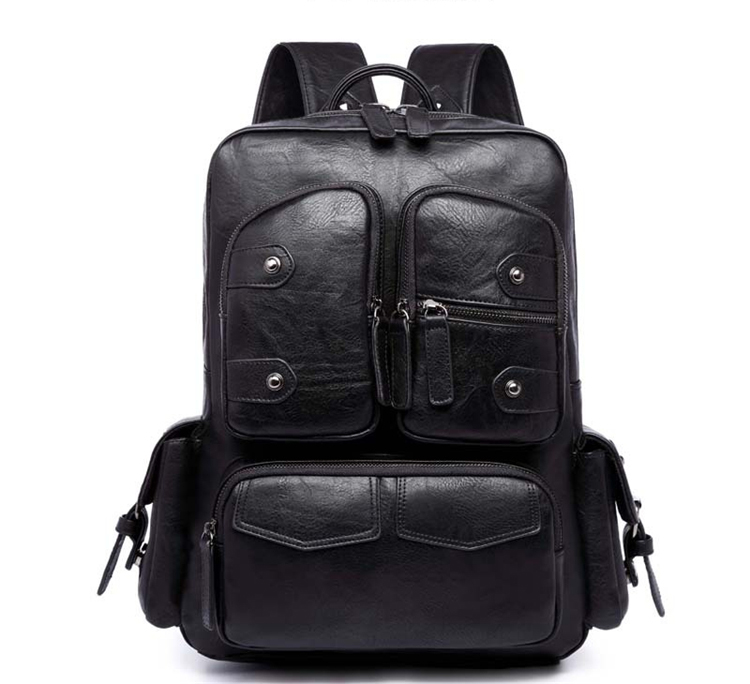 Men PU Leather Backpacks Male Laptop Business Backpack Double Shoulder Bags Youth Travel BACKPACK