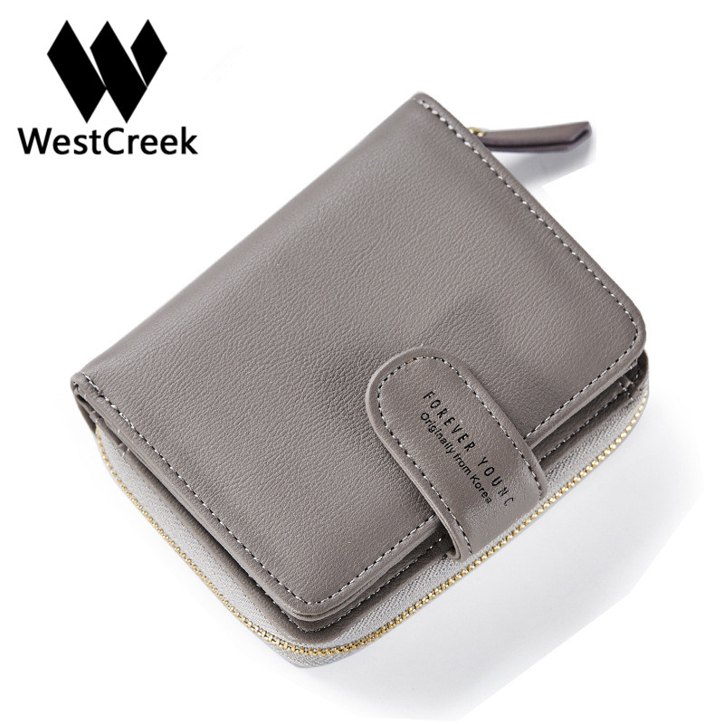 Westcreek Brand  Ladies Short Wallet European And American Style Simple Fashion Zipper Hasp Coin PU Leather Purse european and american style tassel knitting short wallet women clutch purse pu leather ladies hasp coin bags female card holder