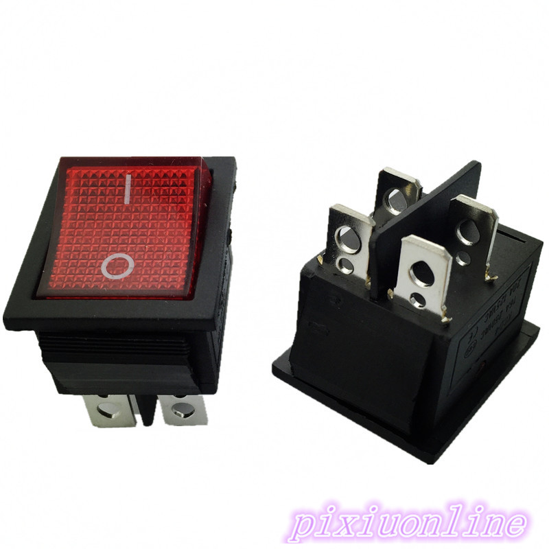 G126Y 2pcs RED LED Light 25*31mm SPST 4PIN ON/OFF Boat Rocker Switch 16A/250V 20A/125V Car Dashboard Home High Quality Cheaper 10pcs ac 250v 3a 2 pin on off i o spst snap in mini boat rocker switch 10 15mm