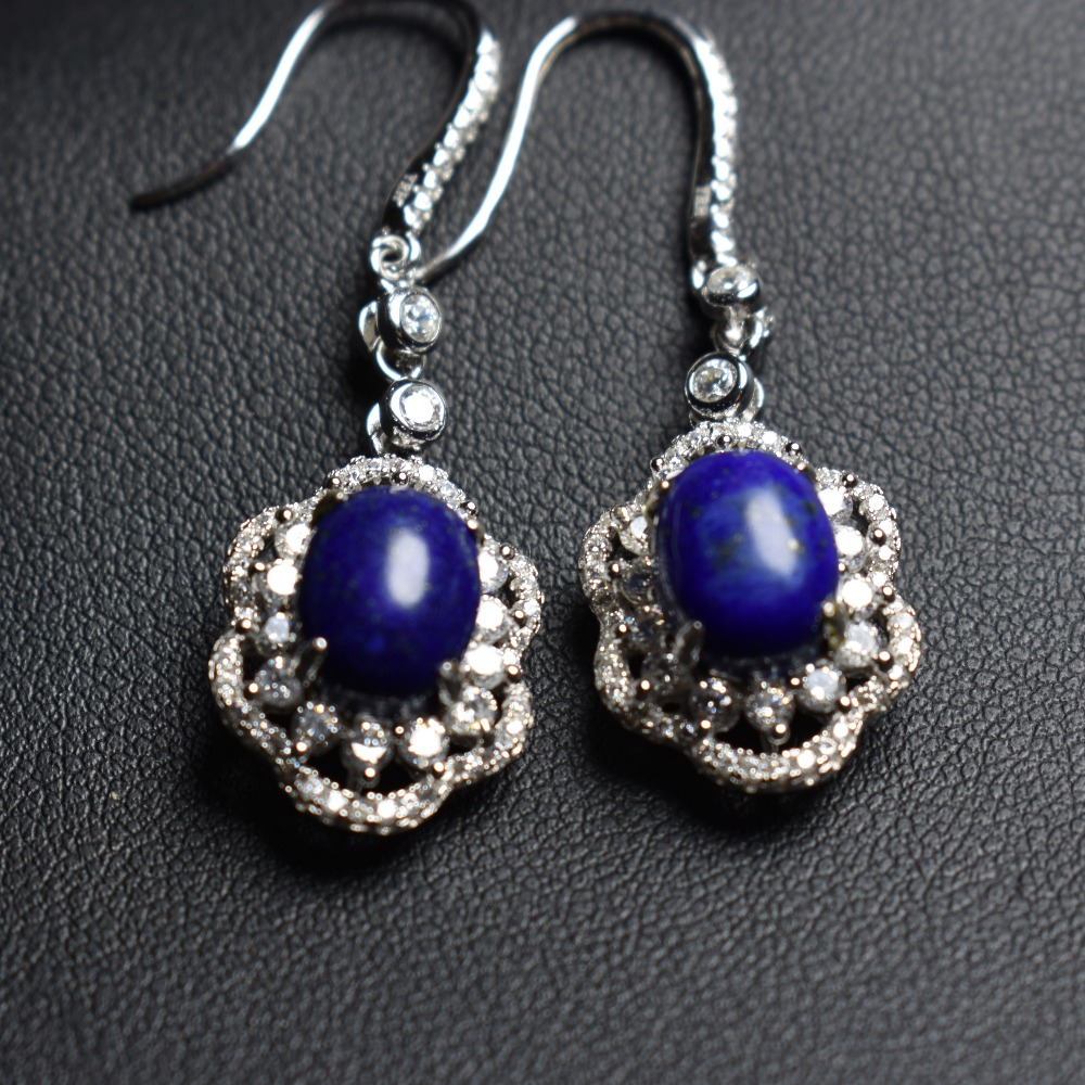 On Sale Fine Jewelry real high quality 925 sterling Silver 100% Natural blue lapis Gemstone Earrings For Women Fine earrings